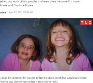幼い頃からいつも一緒だったという2人(画像は『People.com 2021年4月23日付「Extreme Sisters: 2 Adult Siblings Continue to Sleep in the Same Bed in New TLC Series」(CREDIT: TLC)』のスクリーンショット)
