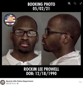 逮捕されたロッキム・プロウェル(画像は『Beverly Hills Police Department 2021年5月7日付Facebook「Media Release - Arrested: Prolific Masked Residential Burglary Suspect」』のスクリーンショット)