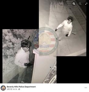 監視カメラが捉えたロッキムの姿(画像は『Beverly Hills Police Department 2021年5月7日付Facebook「Media Release - Arrested: Prolific Masked Residential Burglary Suspect」』のスクリーンショット)