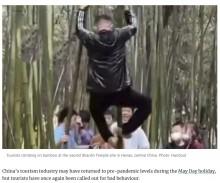 【海外発!Breaking News】少林寺の竹によじ登り遺跡に落書き 観光客のマナーの悪さに中国国内で怒りの声