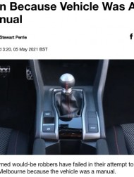 【海外発!Breaking News】武装した強盗犯、奪おうとした車がマニュアル車で運転できず? あえなく退散(豪)