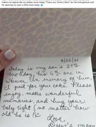 【海外発!Breaking News】息子の誕生日ケーキの支払いをしてくれた女性、親切の理由に母親が心打たれる(米)
