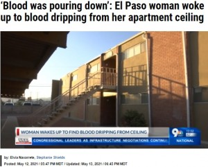 【海外発!Breaking News】天井から落ちる水滴で目覚めた女性 上階で亡くなった人の血液と知りトラウマに(米)