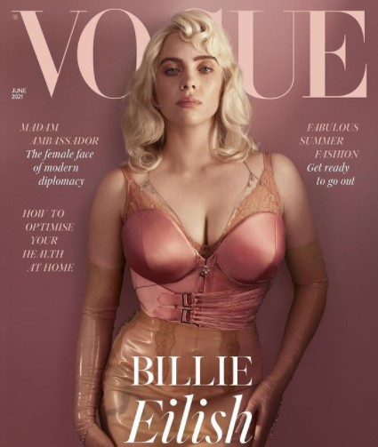 英版『VOGUE』の表紙を飾ったビリー(画像は『British Vogue 2021年5月2日付Instagram「For #BritishVogue's June issue, cover star @BillieEilish wanted nothing short of a transformation.」』のスクリーンショット)