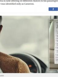 """【海外発!Breaking News】タクシーに""""メニュー""""を用意した運転手 ユニークな取り組みが話題に(米)"""