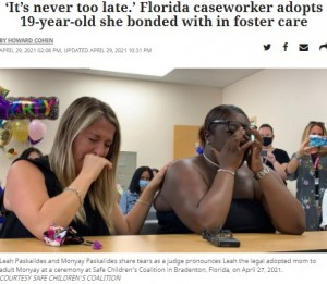 【海外発!Breaking News】米ケースワーカー、担当だった19歳女性を養子に迎え感涙「あなたは愛されているのよ」<動画あり>