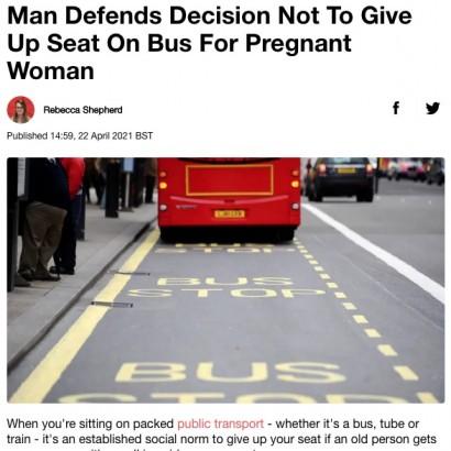 【海外発!Breaking News】「妊婦に席を譲らなかった僕は最低なのか?」男性の投稿が物議を醸す