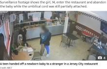【海外発!Breaking News】へその緒ついた赤ちゃんを店の客に預けた14歳母 逃げる様子が監視カメラに(米)