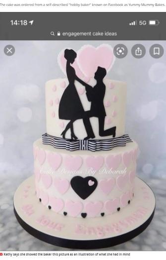 キャシーさんがあらかじめ送ったケーキの写真(画像は『MyLondon 2021年5月17日付「Mum orders beautiful engagement cake for son but the one delivered is so bad it ends up 'scaring the grandkids'」(Image: Kathy Whittle)』のスクリーンショット)