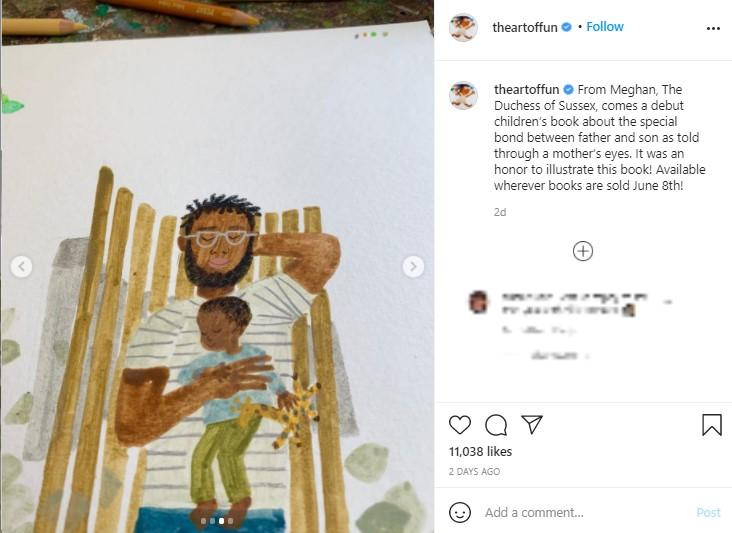 昼寝をする父子を描いた心温まるイラスト(画像は『Christian Robinson 2021年5月5日付Instagram「From Meghan, The Duchess of Sussex, comes a debut children's book about the special bond between father and son as told through a mother's eyes.」』のスクリーンショット)