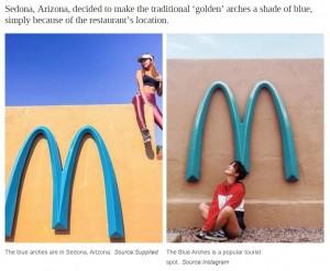 目立たないようにと設置された青いアーチが、逆に注目の的に(画像は『news.com.au 2021年4月30日付「McDonald's Arizona has a pale blue M, not golden arches」(Source:Supplied)(Source:Instagram)』のスクリーンショット)