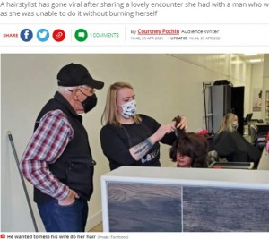 【海外発!Breaking News】「視力が落ちた妻の髪を巻いてあげたい」美容学校の門を叩いた79歳男性に「これぞ真の愛」(カナダ)