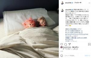 長女の優しさにほっこり(画像は『田村淳 2021年5月12日付Instagram「深夜仕事が終わって、ソロ~っと寝室に入ると僕の枕が占領されていました」』のスクリーンショット)