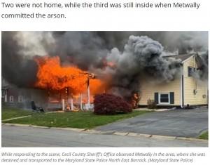 【海外発!Breaking News】口論の末に放火した女 燃え盛る自宅前に座り読書(米)<動画あり>