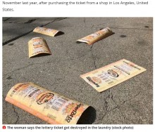 宝くじで28億円当てた女性 チケットを洗濯して当選金を受け取れず(米)