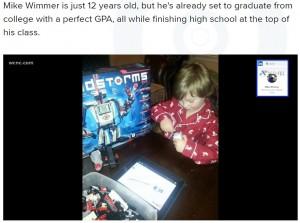 1歳半の時に触れたiPadがマイク君の知的好奇心を刺激(画像は『WCNC 2021年4月21日付「Salisbury 12-year-old set to graduate college with a 4.0 GPA」』のスクリーンショット)