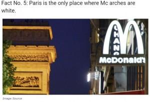 パリのシャンゼリゼ通りでは黄色ではなく白いアーチが(画像は『Khurki 「We Love Dominos, Pizza Hut & McDonald's, But How Many Of Us Know….」(Image Source)』のスクリーンショット)