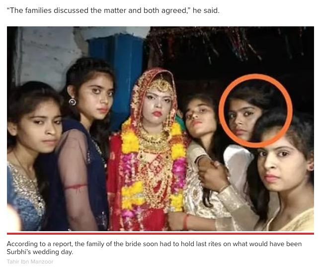 そのまま新郎はスラビーさんの妹と結婚式を挙げる(画像は『New York Post 2021年6月2日付「Bride dies of heart attack at her wedding in India, so groom reportedly marries sister」(Tahir Ibn Manzoor)』のスクリーンショット)