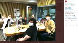 ゲストに錦鯉を迎えた『ザ・ラジオショー』スタジオにて(画像は『『ザ・ラジオショー』(ニッポン放送・平日13時~) 2021年6月2日付Twitter「#ナイツラジオショー3時30分まで生放送」』のスクリーンショット)