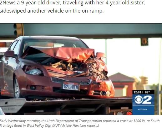 9歳女児が運転していた車(画像は『KUTV 2021年6月2日付「9-year-old driver, 4-year-old passenger, crash into semi in Utah」(Photo: KUTV)』のスクリーンショット)