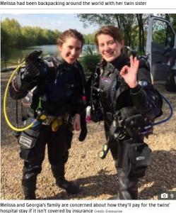 ダイバーでもある2人(画像は『The Sun 2021年6月8日付「JAWS OF DEATH 'Super-badass' Brit punched crocodile three times to save twin sister being 'thrown about like a rag doll'」(Credit: Enterprise)』のスクリーンショット)