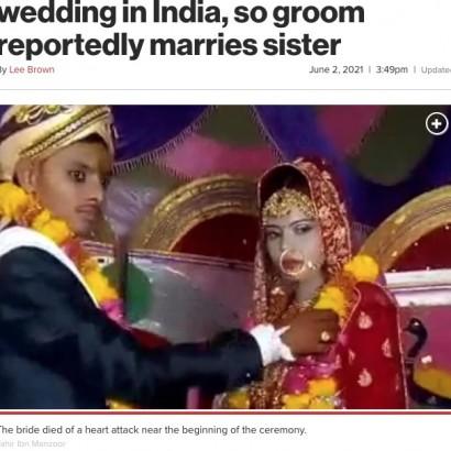 【海外発!Breaking News】結婚式の最中に花嫁が心臓発作で死亡、代わりに妹がその場で新郎と式を挙げる(印)