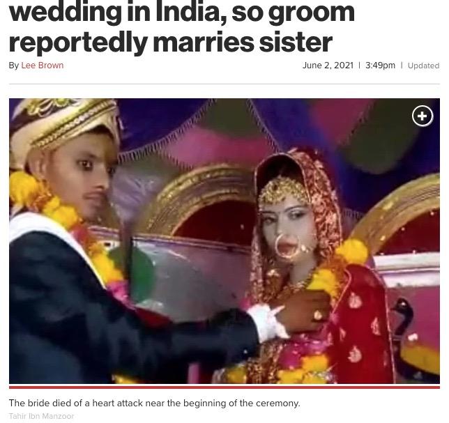 式が始まった途端、心臓発作で亡くなった花嫁(画像は『New York Post 2021年6月2日付「Bride dies of heart attack at her wedding in India, so groom reportedly marries sister」(Tahir Ibn Manzoor)』のスクリーンショット)