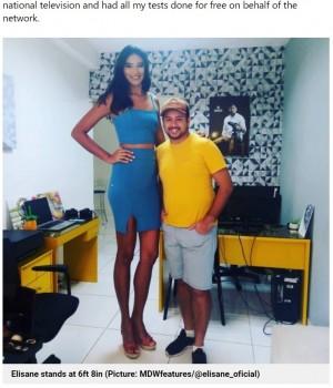 """【海外発!Breaking News】身長2メートル""""巨人症""""の女性 いじめ受け退学も最高の伴侶と幸せな日々(ブラジル)"""