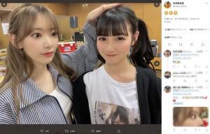 今村麻莉愛(右)と久々に再会した宮脇咲良(画像は『今村麻莉愛 2021年6月2日付Twitter』のスクリーンショット)
