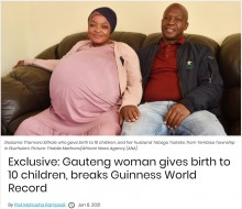 【海外発!Breaking News】スキャンで8人確認、出産時に2人発見 合計10人の赤ちゃんを出産した女性(南ア)