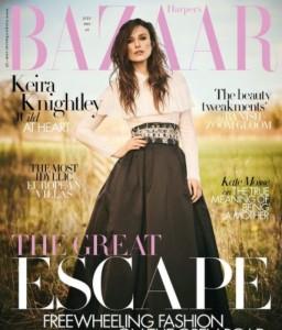 英版『Harper's BAZAAR』の表紙を飾ったキーラ(画像は『Harper's Bazaar UK 2021年6月8日付Instagram「Being out of the spotlight during the pandemic has taught Keira Knightley to reevaluate her priorities.」』のスクリーンショット)