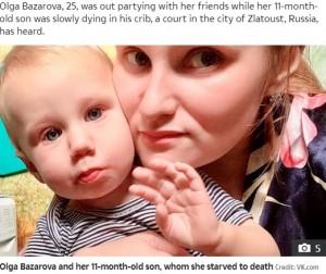 【海外発!Breaking News】生後11か月の子を放置して4日間飲み歩き、餓死させた母親に懲役14年の判決(露)