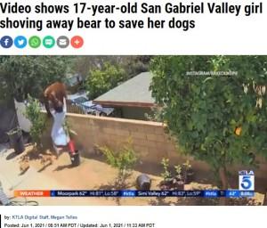 母グマを両手で突き飛ばすヘイリーさん(画像は『KTLA 2021年6月1日付「Video shows 17-year-old San Gabriel Valley girl shoving away bear to save her dogs」(Instagram / Bakedlikepie)』のスクリーンショット)