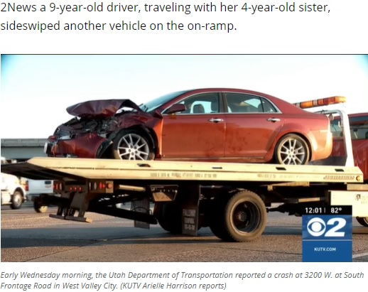 レッカー移動される事故車(画像は『KUTV 2021年6月2日付「9-year-old driver, 4-year-old passenger, crash into semi in Utah」(Photo: KUTV)』のスクリーンショット)