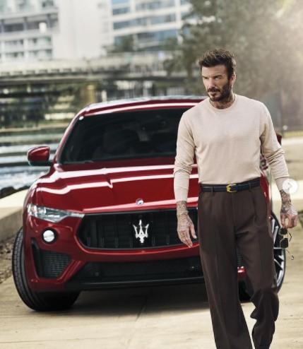 「マセラティ」のアンバサダーを務めるロメオの父デヴィッド・ベッカム(画像は『Maserati 2021年4月15日付Instagram「Iconic, powerful, stylish. Maserati and David Beckham: Two of a kind.」』のスクリーンショット)