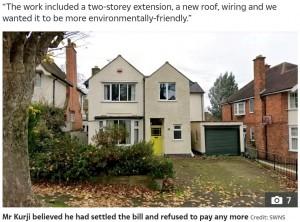 ほぼ完成しているように見える破壊前の家(画像は『The Sun 2021年6月8日付「YOB THE BUILDER Builder leaves family-of-six's £540,000 house in ruins with no roof after row with owner over pay」(Credit: SWNS)』のスクリーンショット)