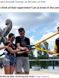 【海外発!Breaking News】鎖で繋いだまま生活したカップル、123日目に鎖を切断し別れることに(ウクライナ)<動画あり>