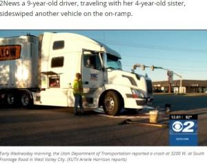 衝突されたトラクタ・トレーラー(画像は『KUTV 2021年6月2日付「9-year-old driver, 4-year-old passenger, crash into semi in Utah」(Photo: KUTV)』のスクリーンショット)