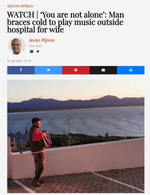 【海外発!Breaking News】闘病中の妻に病棟の外からアコーディオンの演奏を捧げる夫「あなたは一人じゃない」(南ア)<動画あり>