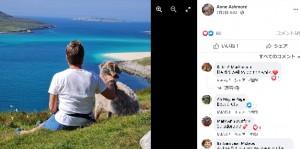 夫妻は目の見えない犬のために人の少ない海を選んで連れて行くという(画像は『Anne Ashmore 2021年7月2日付Facebook「Adorable Angus living his best life!」』のスクリーンショット)