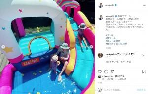特大プールが設置できる広い庭に「流石です」の声も(画像は『田村淳 2021年7月19日付Instagram「お庭でプール」』のスクリーンショット)