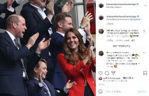 6月29日には「イングランド-ドイツ」戦を観戦したジョージ王子とウィリアム王子夫妻(画像は『Duke and Duchess of Cambridge 2021年6月29日付Instagram「Incredible performance @England!」』のスクリーンショット)