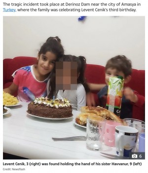 溺れる3歳弟を救おうとした9歳姉、手を繋いだままの遺体が湖底で見つかる(トルコ)