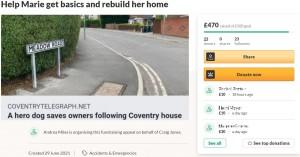 クレイグさんたちのために立ち上げた「GoFundMe」のページ(画像は『GoFundMe 2021年6月29日付「Help Marie get basics and rebuild her home」』のスクリーンショット)