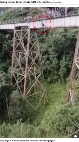足首にロープを付けないままジャンプしてしまったジェセニアさん(画像は『The Sun 2021年7月22日付「DEATH PLUNGE Bungee jumper 'died of heart attack MID-AIR' after realising she'd jumped off bridge with no cord」』のスクリーンショット)