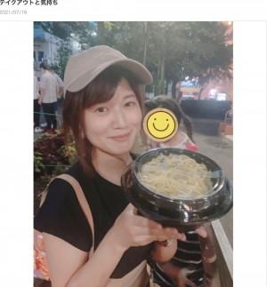 【エンタがビタミン♪】小林礼奈、大好きな「中本」でテイクアウト 夜の公園で時間を気にせずラーメンを堪能