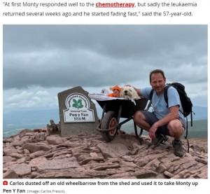 頂上で記念撮影するカルロスさんとモンティ(画像は『WalesOnline 2021年7月7日付「Man pushed his dying dog up Pen y Fan in a wheelbarrow for 'one last adventure together'」(Image: Carlos Fresco)』のスクリーンショット)