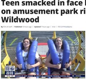 発射直前、この後に起こる悲劇など想像もしていない様子(画像は『FOX 29 News Philadelphia 2021年7月23日付「Teen smacked in face by seagull on amusement park ride in Wildwood」』のスクリーンショット)