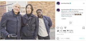 ウディ・ハレルソン、山下智久、ケヴィン・ハートの3ショット(画像は『Kevin Hart 2020年11月23日付Instagram「Welcome to Toronto @tomo.y9」』のスクリーンショット)