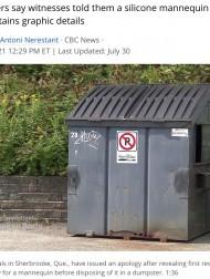【海外発!Breaking News】焼死した女性の遺体をマネキンと勘違い 警察が廃棄処分に(カナダ)